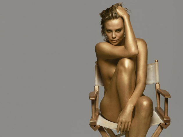 Wallpaper Naked actress Charlize Theron