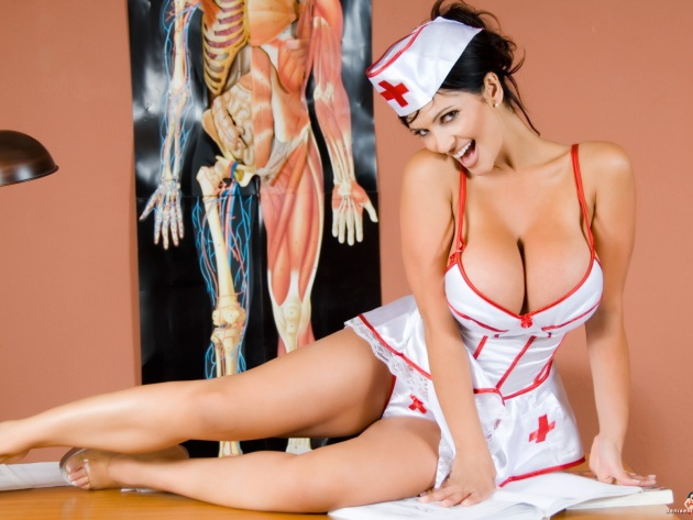 Wallpaper Busty nurse (Denise Milani)