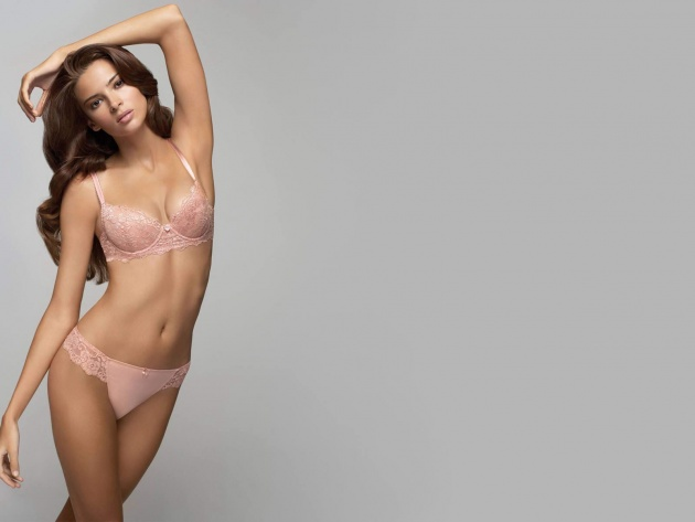 Le papier peint Long-haired brune en rose lingerie