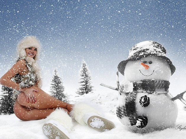 Wallpaper snow, erotic, girl, ass, new year, snowman, smile