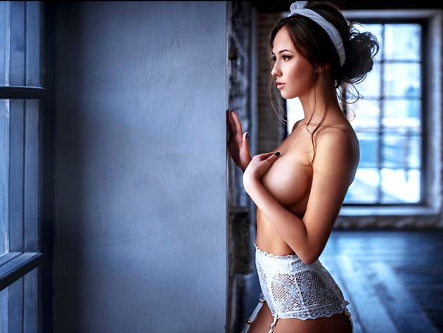 Wallpaper tits, girl, window, breast, underwear, panties