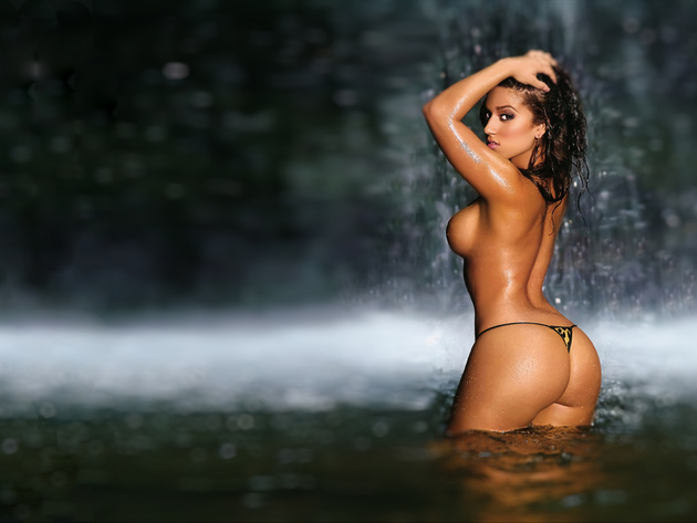 Wallpaper waterfall, tits, erotic, girl, breast, ass, panties, tan, look, wet,