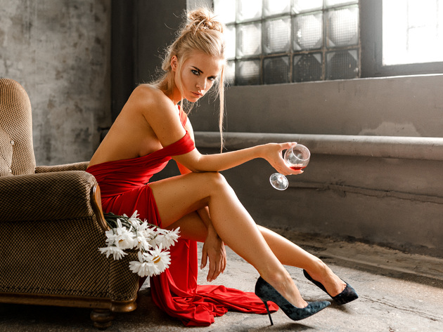Wallpaper sexy, chair, model, glass, girl, dress, legs, red dress, shoes