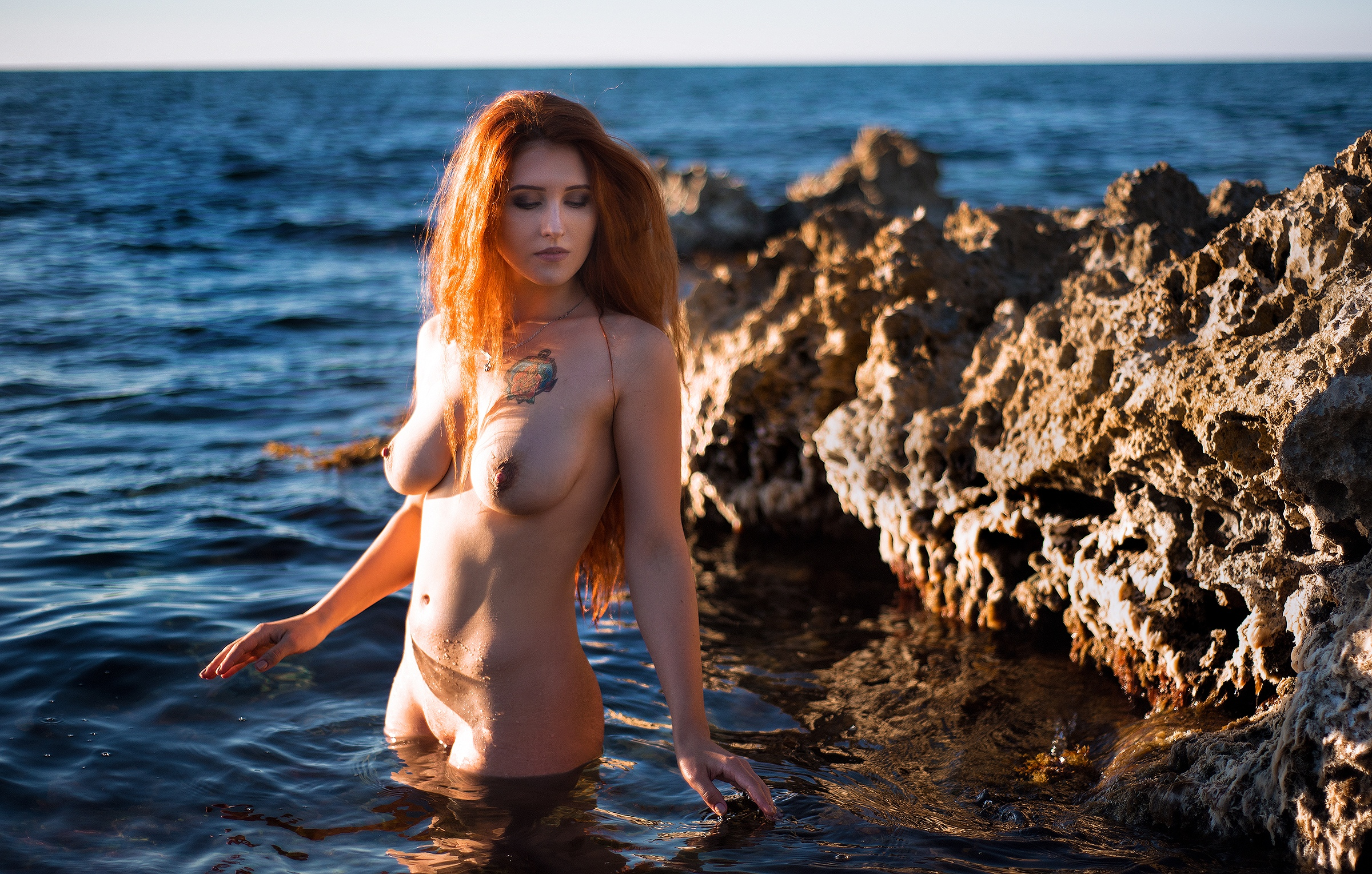 Wet naked redheads