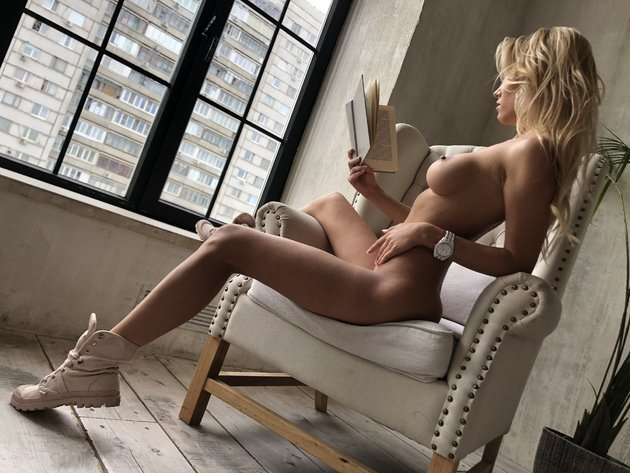 Wallpaper sexy, blonde, tits, erotic, girl, breast, book, nude, naked, tan, reads
