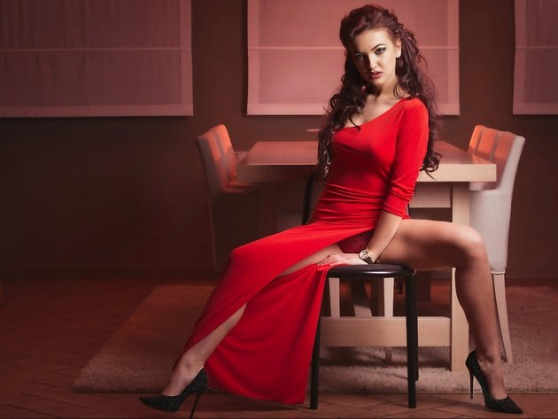 Wallpaper brunette, panties, red dress, shoes, pose, spread her legs