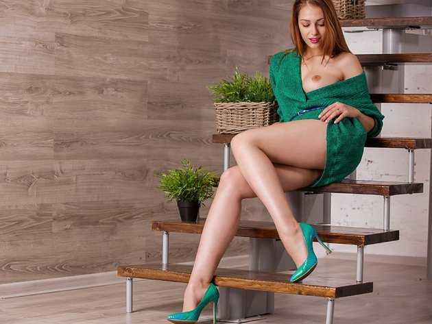 Wallpaper sexy, dress, breast, legs, shoes, redhead, isabella