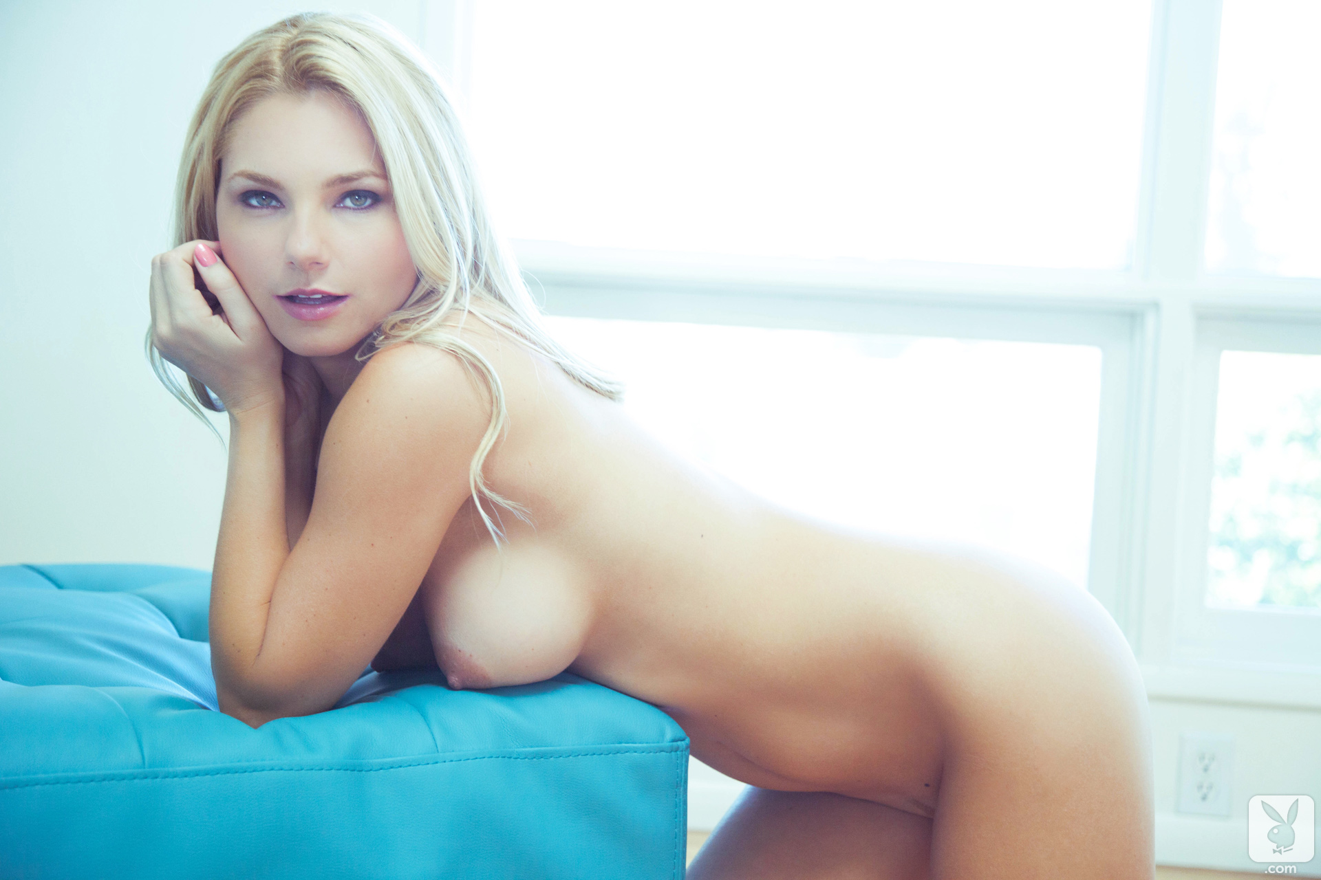 Pretty Blue Eyes Blonde Nude Smiling