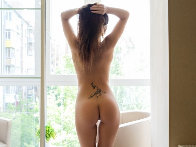 Wallpaper sexy, model, brunette, girl, ass, tattoo, naked, back, tan, niemira