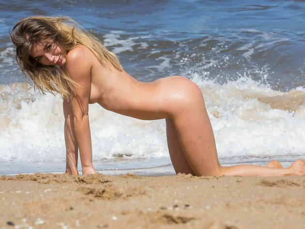 Wallpaper beach, sea, erotic, girl, breast, ass, naked, wet, doggy