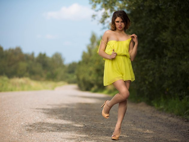 Wallpaper road, girl, dress, legs, yellow dress
