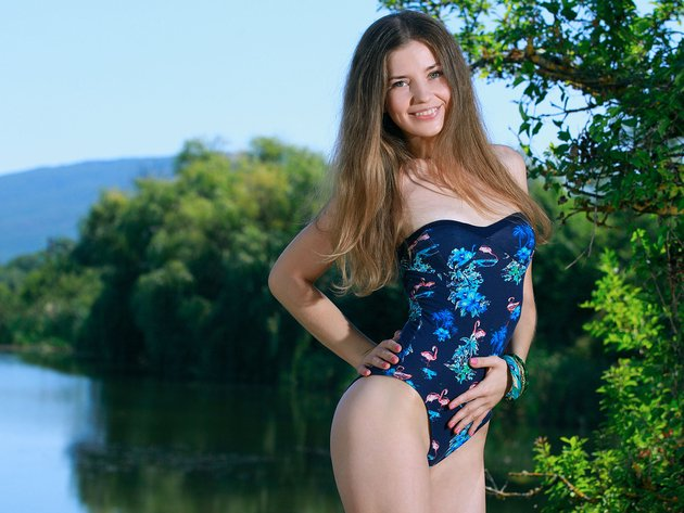 Wallpaper trees, lake, swimsuit, girl, smile, vivian, celine r