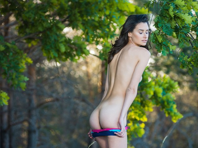 Wallpaper forest, brunette, girl, ass, undressing