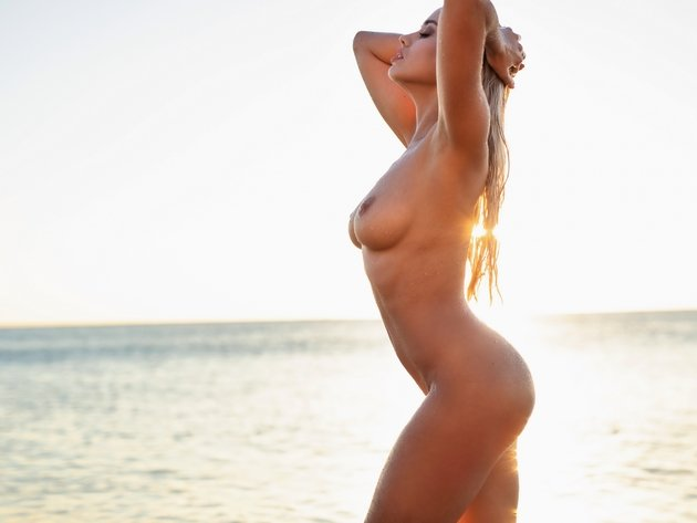 Wallpaper beach, sea, sexy, blonde, tits, breast, naked, nipples, wet, margo