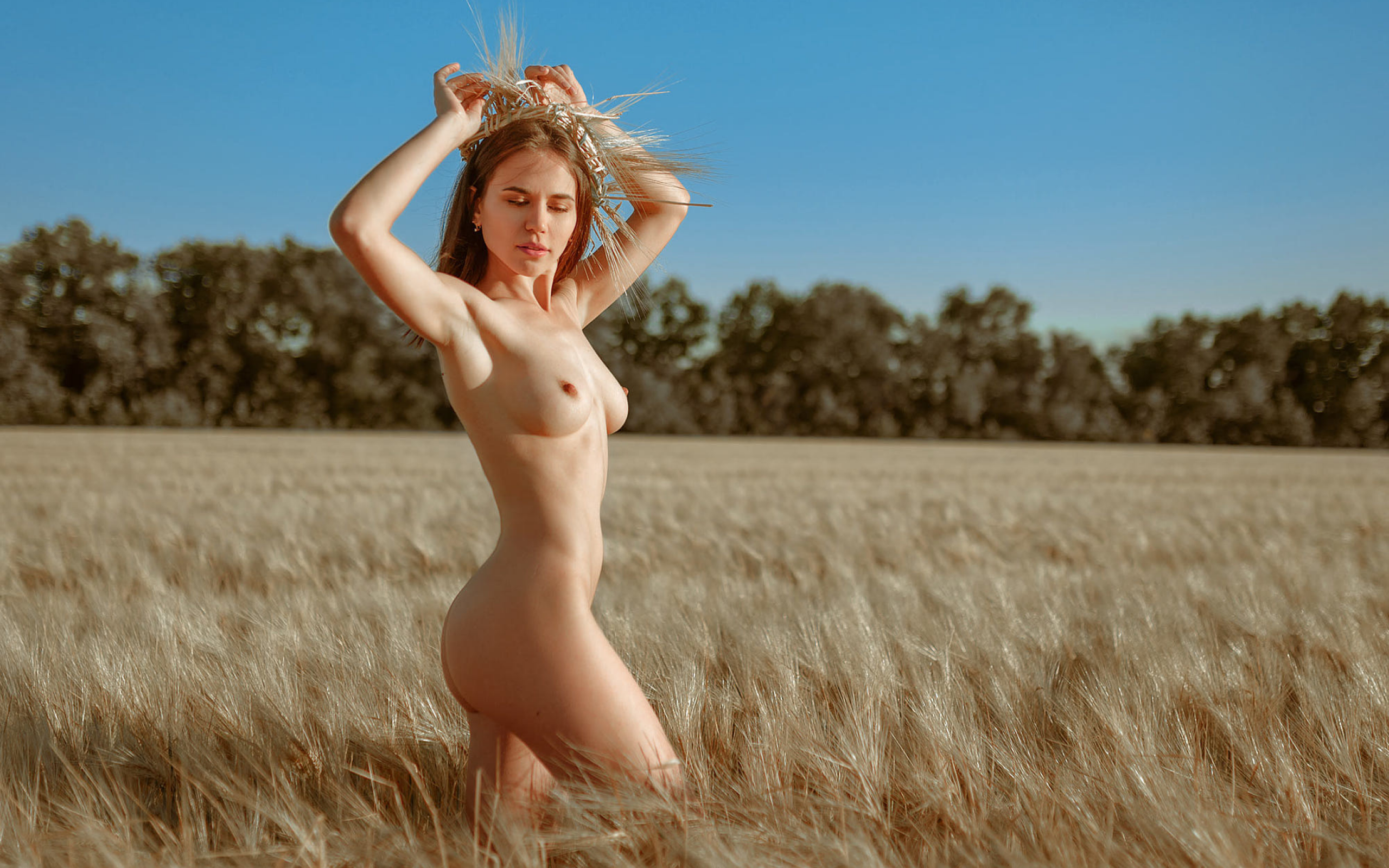 Beautiful Nude Back View Of A Woman A Wheat Field Photograph By Maggie Mccall