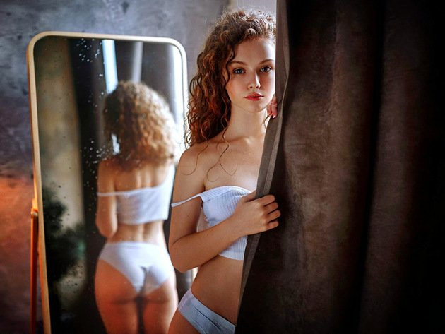 Wallpaper reflection, girl, curls, ass, underwear, panties, mirror, white panties, white lingerie, blind