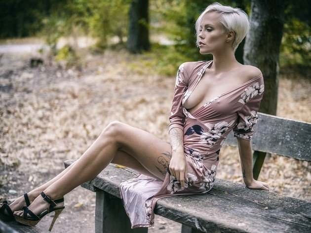 Wallpaper blonde, model, tits, breast, bench, nipples, beauty, heels, miri