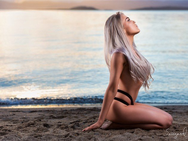 Wallpaper beach, sunset, blonde, model, long hair, iselin cheyenne