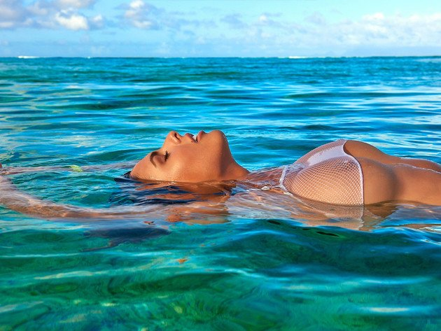 Wallpaper sea, model, tits, girl, breast, tan, wet, closed eyes, bo krsmanovic
