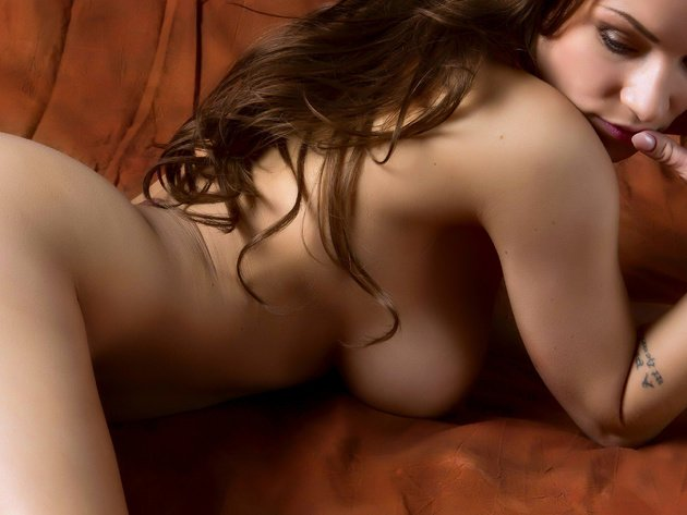 Wallpaper brunette, tits, girl, breast, naked, back, long hair