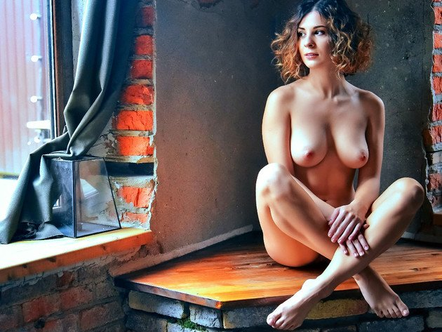Wallpaper tits, girl, window, breast, naked, nipples, big breast, table, pose