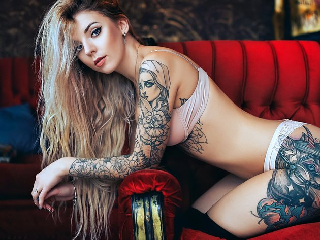 Wallpaper blonde, chair, girl, tattoo, underwear, panties, long hair, bra