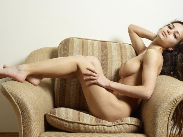 Wallpaper chair, brunette, tits, girl, breast, legs, naked, nipples