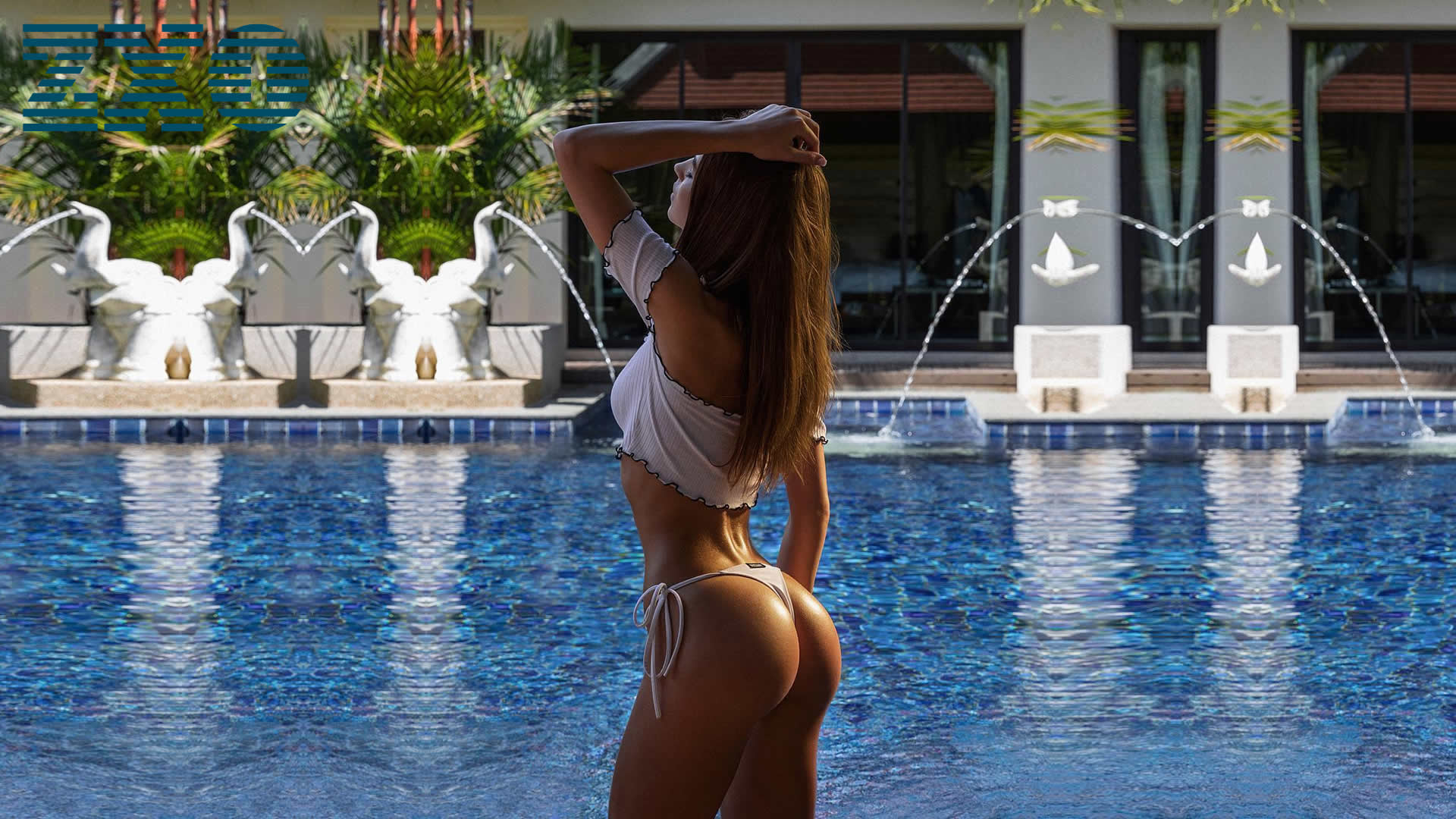 Girls by pool touching ass