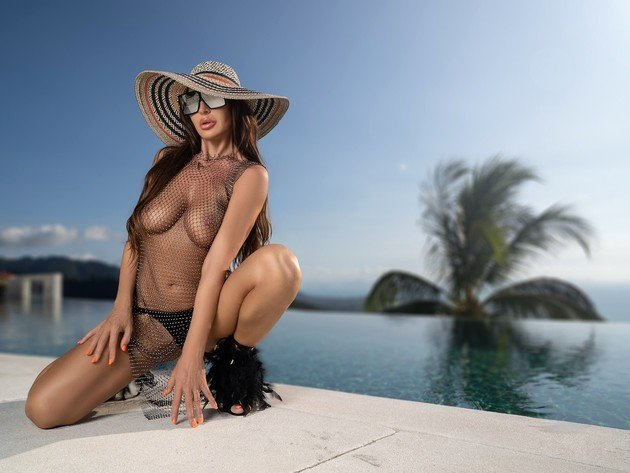 Wallpaper model, pool, brunette, tits, panties, hat, tan, mesh, breasts, see through, sun glasses