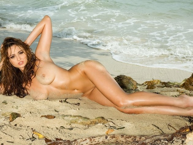 Wallpaper beach, sea, tits, girl, breast, legs, naked, nipples, tan, wet, wet hair