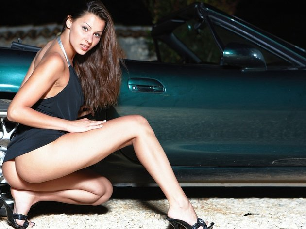 Wallpaper brunette, girl, ass, legs, mazda, naked, mazda mx-5, car, tan, shoes, black dress, cindy hose